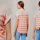 XS Anthropologie Tie-Front Perpignan Top  XSmall 0 2 Tank Blouse Rugby Striped Cotton Gauze