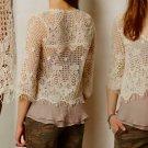 M Anthropologie Tiga Pullover Medium 6 8 Ivory Crochet Top Blouse Shirt NWT