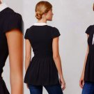 8 Anthropologie Smocked Sightseer Tunic Top Blouse Medium Black & White NWT