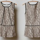 Anthropologie Piped Peplum Blouse Lace Top Medium 6 8 Neutral Weston Wear USA