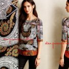 Anthropologie Tangier Paisley Tee XSmall 0 2 Orange Motif Top Blouse Shirt Twelfth Street
