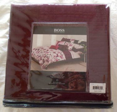 Boss Hugo Boss Queen Coverlet Luxe Wine Cotton Silk NIP