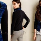Anthropologie Boucle Moto Jacket Medium 6 8 Blue & Black Motif Full Zip UNIQUE