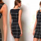 L Anthropologie Paned Hourglass Column Dress Large 10 12 Weston Wear Black Motif Made in USA