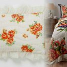 2 Pcs. Anthropologie Esperanza Standard Shams Cotton Big Blooms Orange & White