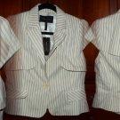 BCBG MADDY Cap Sleeve Vest Medium 6 8 Cream w Grey Pinstripes Capelet Look $258 NWT