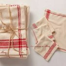 4 Pcs Eatery & Pub Napkins Red & Ivory 100% Organic Cotton