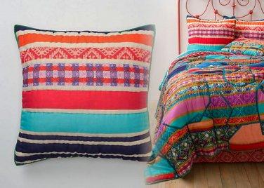 2 Pcs Anthropologie Jaana Euro Shams Pair Icelandic Colorful Bright Graphic Cotton