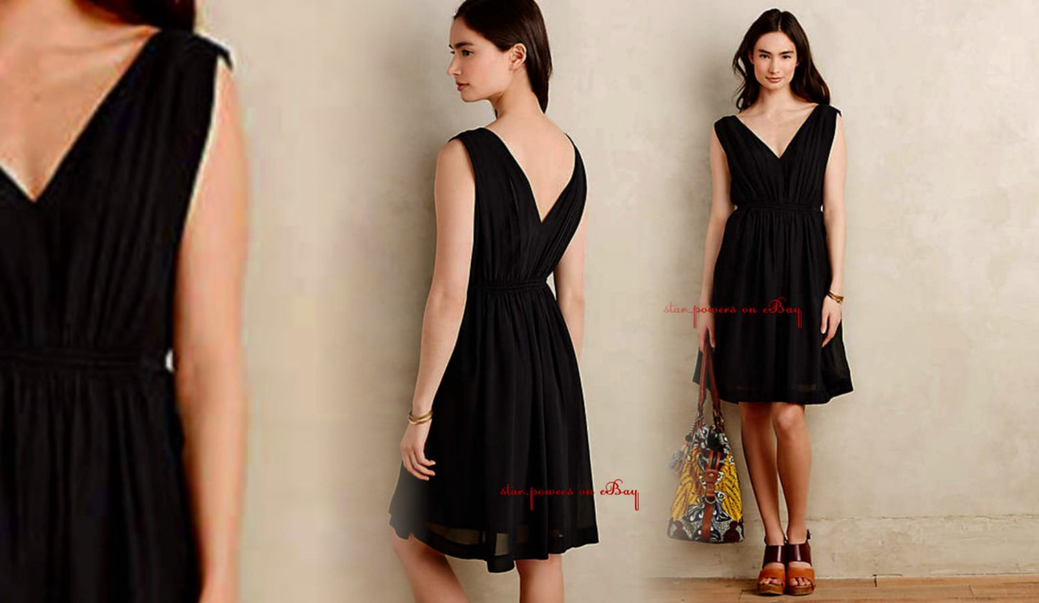 bbe194ab5c Anthropologie Lavana Dress Black 4 Small HD in Paris Romantic Fit-and-Flare