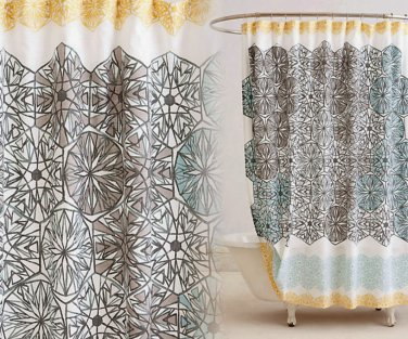 Anthropologie Kaleidoscope Patch Shower Curtain Charcoal Blue Yellow White Motif Cotton Machine Wash