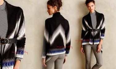 Anthropologie Ural Chevrons Cardigan Petite Small 2 4 Black Motif $248 Cynthia Vincent