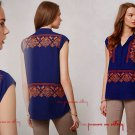 Anthropologie Folk-Embroidered Tunic XSmall Petite 0 2 Blue Retail $118 HD in Paris