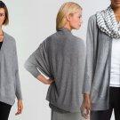 $198 Eileen Fisher Speckled Origami Cardigan XSmall 0 2 Weightless Wool Silk Grey Ash
