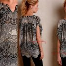 $148 Anthropologie Beaded Cocoon Top Small 2 4 Black & White Embellished Bling