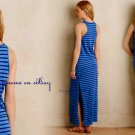 Anthropologie Anchors Away Maxi Dress Small (1) Blue Stripe Blouson Bodice COMFY