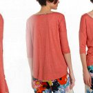 Anthropologie Hue-Traced Sleep Tee XSmall 0 2 Coral Porridge Contrast Print SOFT