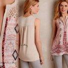 Anthropologie Santa Ana Tunic Medium 6 8 Neutral Top Shirt Weston Lace Yoke