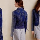 Anthropologie Evening Petals Jacket XSmall 0 2 Blue Motif Lace Hem