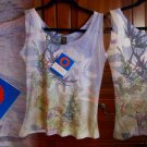 Ojai Burnout Tank Medium 6 8 Top Tee Lightweight Gorgeous Nature Print