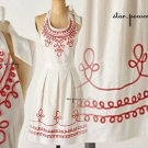 Anthropologie Loop-Di-Loop Apron White Coral Cotton Machine Wash