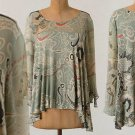S Anthropologie Coronilla Top Small 2 4 Tee Blouse Green Motif Chiffon Flowy Floaty