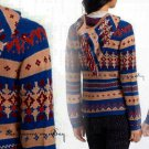 Anthropologie Fairisle Hooded Sweater XSmall 0 2 Blue Motif Sparrow