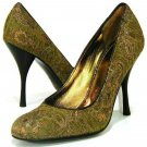 "$325 BCBG Max Azria Carlotta Golden Pumps 4"" Heels 8 Shoes Made in Italy 38"