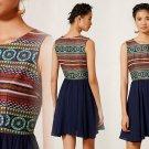 8 Anthropologie Winola Dress Medium Blue Motif by Nomad Morgan Carper