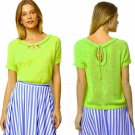 XS Anthropologie Addie Sweater Top Bright Lime XSmall Cotton Linen Moth Runs Large