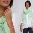 Eileen Fisher Sequined Stripe Linen Scarf Pale Leaf Green Silver Sequins