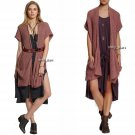 Free People Sloppy Pocket Long Cardigan Medium 6 8 Rust Combo NWT