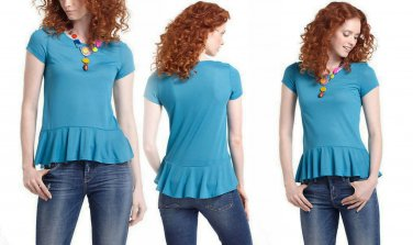 Anthropologie Twirl Tee Tank Top Shirt Small 2 4 Pure & Good Turquoise Blue $48