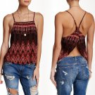 $68 Free People Sundazed Crisscross Printed Cami Large 10 12 Tobacco Combo