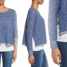 $198 Eileen Fisher Bateau Neck Organic Linen & Cotton Boxy Top Small 2 4 Blue Bonnet