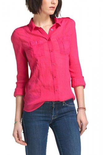 Anthropologie Stratus Buttondown Shirt 12 Large Pink Gauzy Cotton Blouse