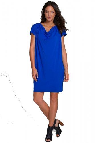 $188 Eileen Fisher Drape Front Shift Dress XSmall 0 2 Deep Sky Blue Viscose Jersey
