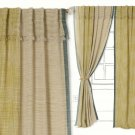 "Anthropologie Composition Curtain Green 50"" x 63"" Woven Linen Dual-colored"