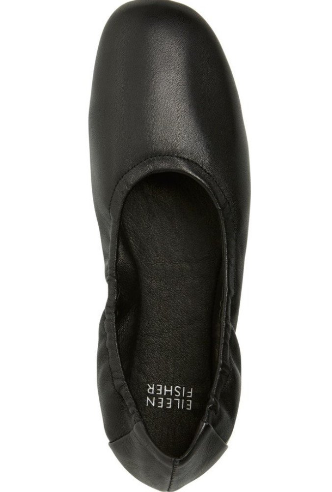 Eileen Fisher Pond Ballet Flat 7 Black Shoes Soft Nappa Leather