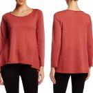 $198 Eileen Fisher Ballet Neck Merino Wool Sweater Large 10 12 Chutney Hiigh-low Hem