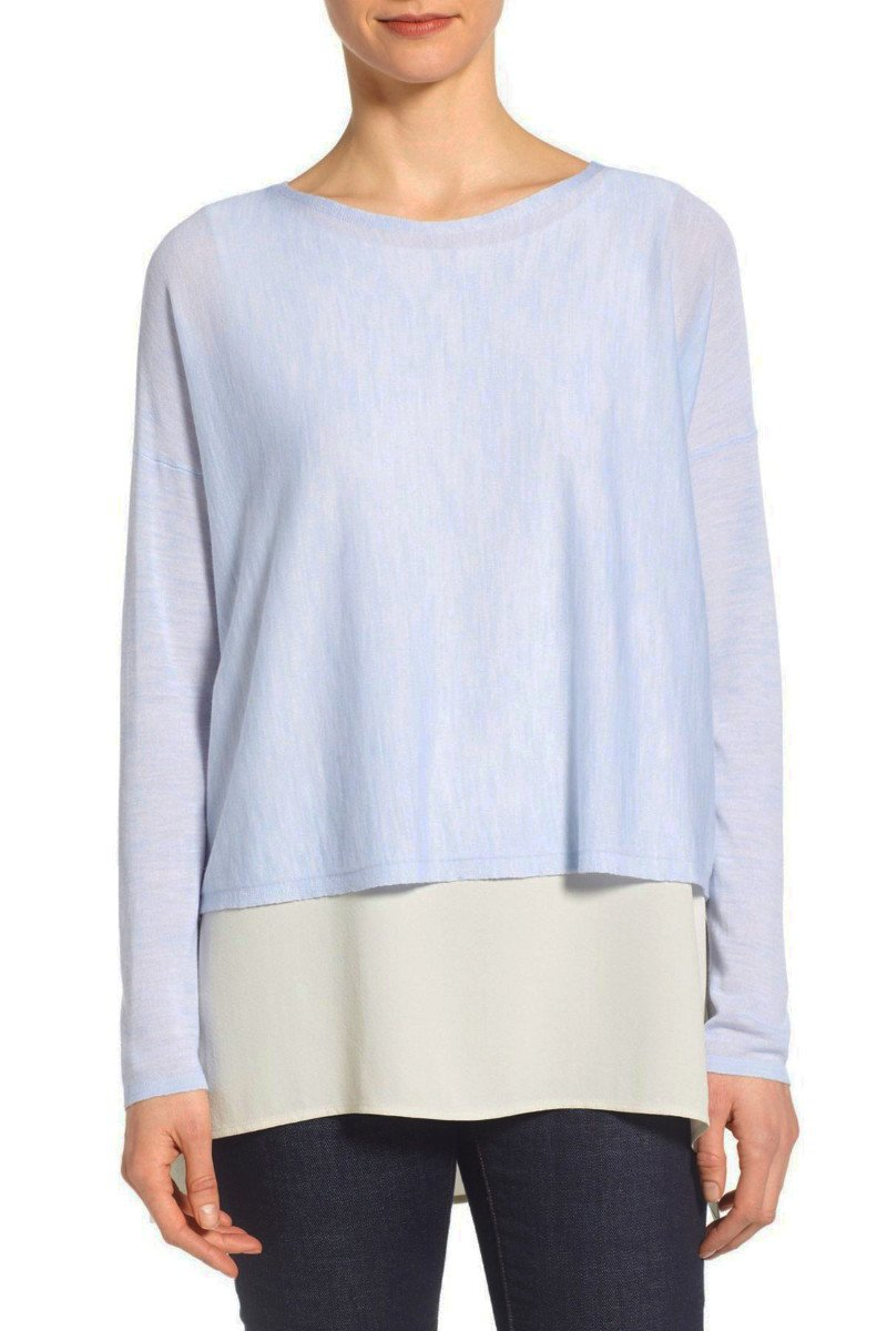 $278 Eileen Fisher Merino Knit Crop Long Sleeve Sweater Medium 6 8 Delfina Blue