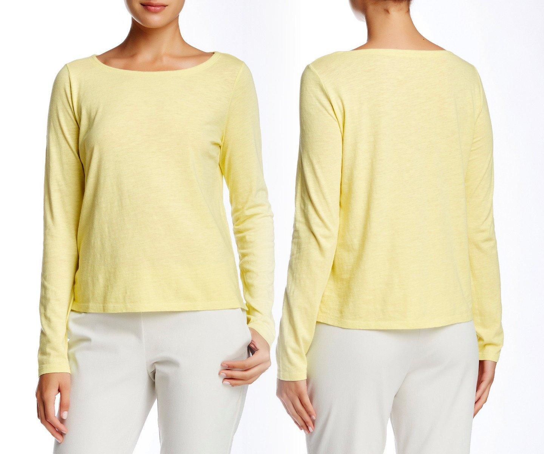 $108 Eileen Fisher Ballet Neck Long Sleeve Tee Medium 6 8 Lemon Ice Organic Cotton