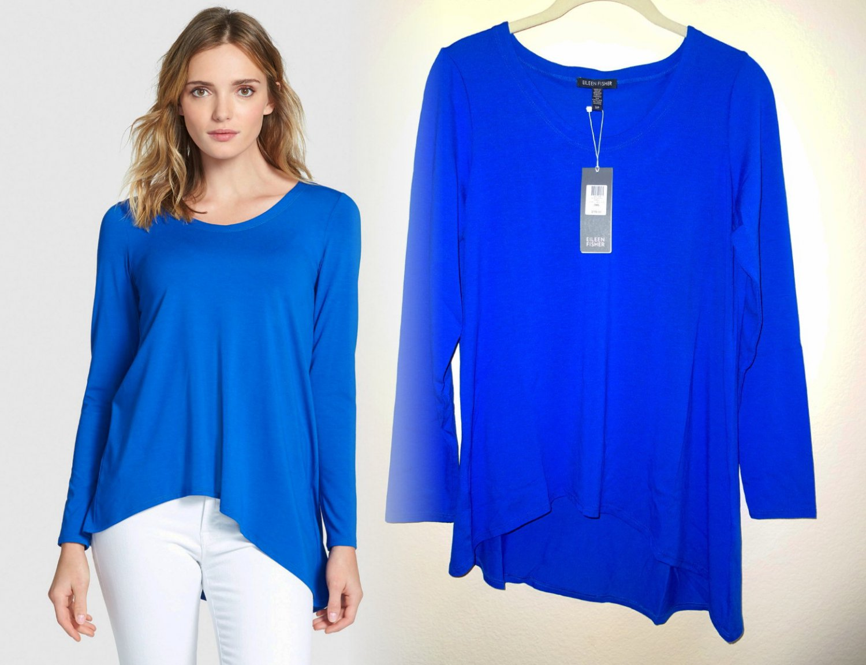 $178 Eileen Fisher V-Neck Stretch Knit Top Small 2 4 Deep Sky Blue Viscose Jersey