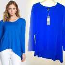 $178 Eileen Fisher V-Neck Stretch Knit Top Small 2 4 Deep Sky Blue Viscose Jersey