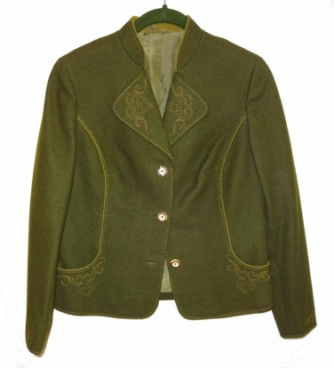 LodenFrey Wool Blazer Green Petite Medium Womens Vintage Jacket Pristine