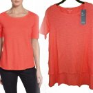 $138 Eileen Fisher Hemp & Organic Cotton Top XXSmall 0 Flora Pink Vented Step Hem