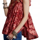 $88 Free People Sugar Cane Blouse XSmall 0 2 Red Print Cross Straps