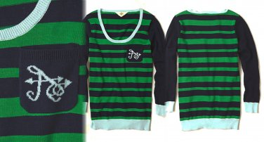 Anthropologie Cheri Monogrammed Pullover Letter A XSmall 0 2 Green Striped
