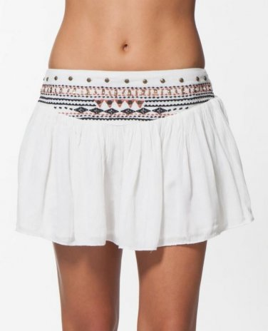 Rip Curl Ritual Skirt XLarge 14 16 Vanilla Sequins Embroidered