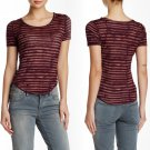 Free People Baby Tee XSmall 0 2 Wine Striped Jersey Short Sleeve Topstitched NWT
