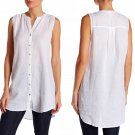 $178 Eileen Fisher Split Neck Longline Linen Tank Petite PP White Buttondown